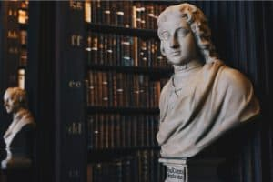 Bust of historic figure in a library