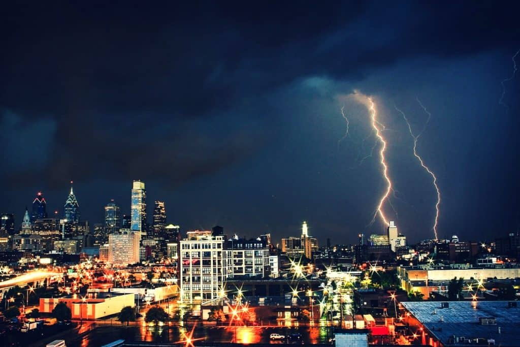 A lightning strike knocking out power to the city.